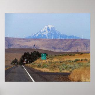 Mount Hood and Wind Turbines, Oregon Poster