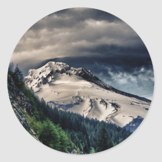 Mount Hood HDR Classic Round Sticker