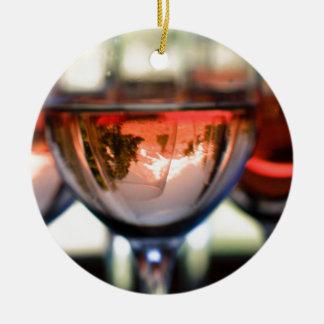 Mount Hood in a Wine Glass Ceramic Ornament