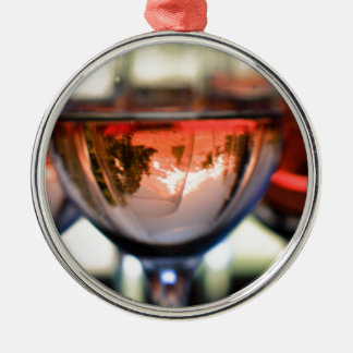 Mount Hood in a Wine Glass Metal Ornament