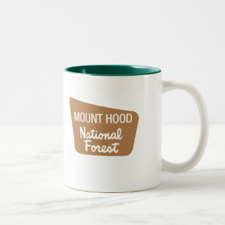 Mount Hood National Forest (Sign) Two-Tone Coffee Mug