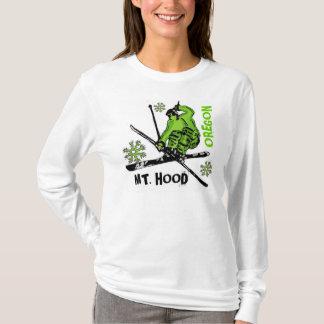 Mount Hood Oregon green skier ladies hoodie
