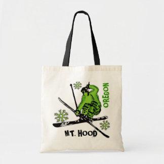 Mount Hood Oregon green skier theme bag