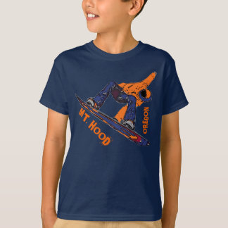 Mount Hood Oregon orange snowboard boys tee