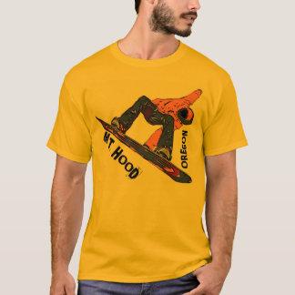 Mount Hood Oregon orange snowboard guys tee