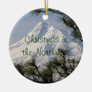 Mount Hood Double-Sided Ceramic Round Christmas Ornament