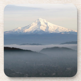 Mount Hood with Low Lying Fog Over Portland Oregon Drink Coaster