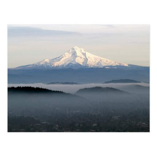 Mount Hood with Low Lying Fog Over Portland Oregon Post Cards