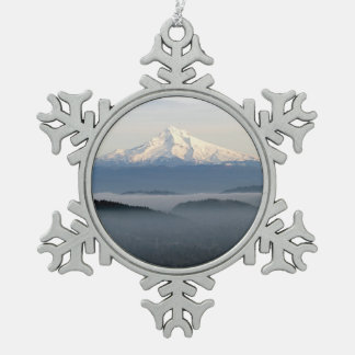 Mount Hood with Low Lying Fog Over Portland Oregon Snowflake Pewter Christmas Ornament