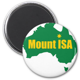 Mount Isa Green and Gold Map 2 Inch Round Magnet