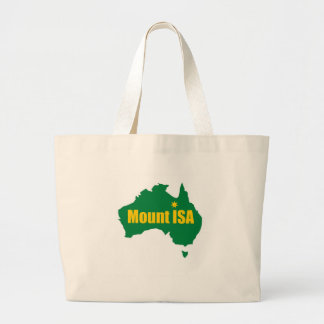 Mount Isa Green and Gold Map Large Tote Bag