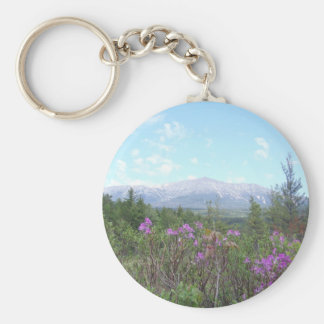 Mount Katahdin and wild flowers Basic Round Button Keychain