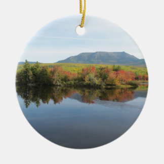 Mount Katahdin Double-Sided Ceramic Round Christmas Ornament