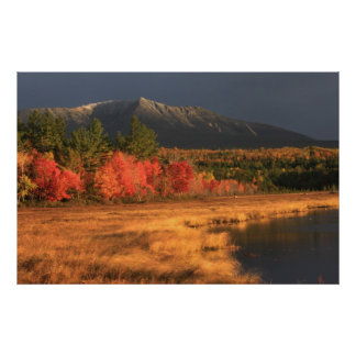 Mount Katahdin Foliage Snow Compass Pond Poster