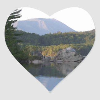 Mount Katahdin from Rainbow Lake Heart Sticker