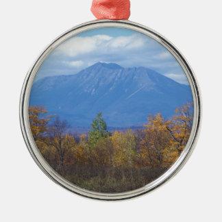 Mount Katahdin in fall 2 Round Metal Christmas Ornament