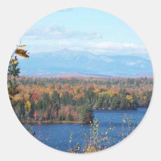 Mount Katahdin in fall 4 Classic Round Sticker