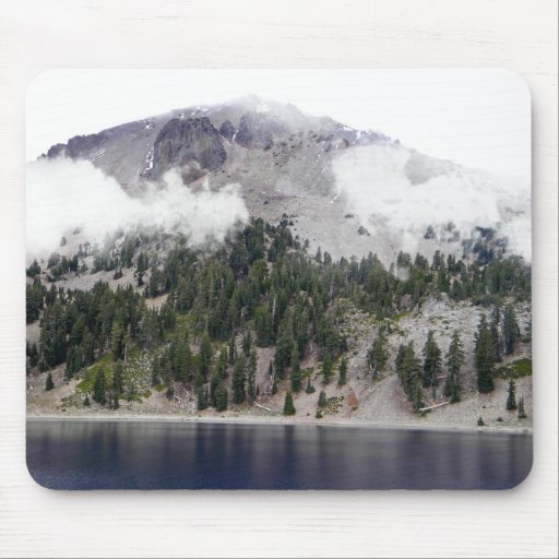 Mount Lassen Volcano in the clouds Mouse Pads