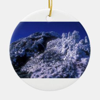 Mount Mansfield Summit Snow Ceramic Ornament
