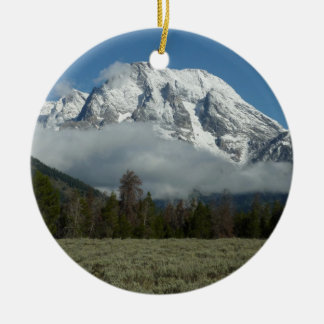 Mount Moran and Clouds at Grand Teton Ceramic Ornament
