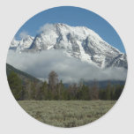 Mount Moran and Clouds at Grand Teton Classic Round Sticker
