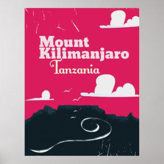 Mount Mount kilimanjaro vintage cartoon poster