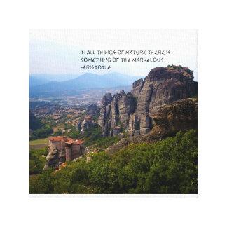 Mount Olympus Greece Monastery Aristotle Quote Canvas Print