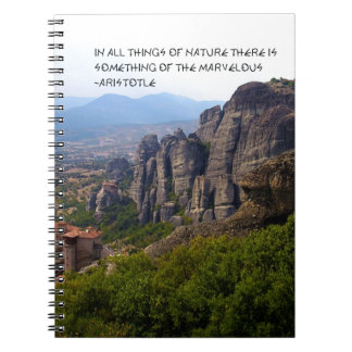 Mount Olympus Greece Monastery Aristotle Quote Spiral Note Book