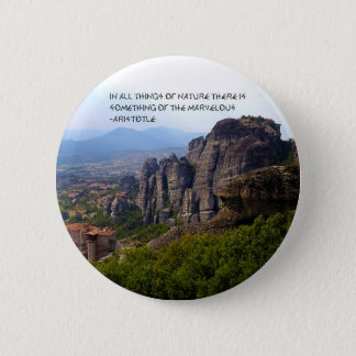 Mount Olympus Greece Monastery Aristotle Quote Pinback Button