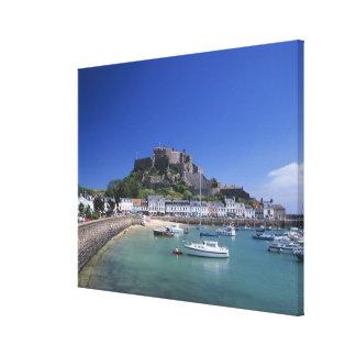 Mount Orgueil Castle and harbour, Gorey, Jersey Canvas Print