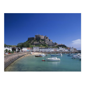 Mount Orgueil Castle and harbour, Gorey, Jersey Postcard