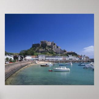 Mount Orgueil Castle and harbour, Gorey, Jersey Poster