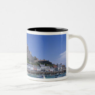 Mount Orgueil Castle and harbour, Gorey, Jersey Two-Tone Coffee Mug