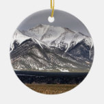 Mount Princeton Double-Sided Ceramic Round Christmas Ornament