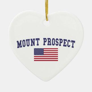 Mount Prospect US Flag Ceramic Ornament