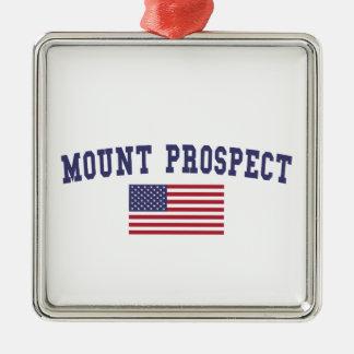Mount Prospect US Flag Metal Ornament