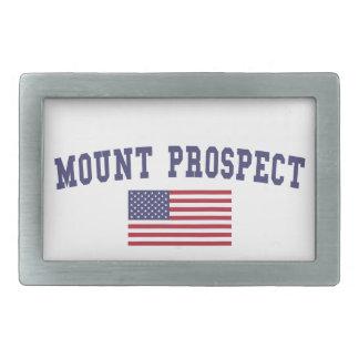 Mount Prospect US Flag Rectangular Belt Buckle