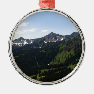 Mount Rainier 3 Round Metal Christmas Ornament