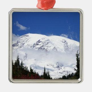 Mount Rainier 6 Square Metal Christmas Ornament