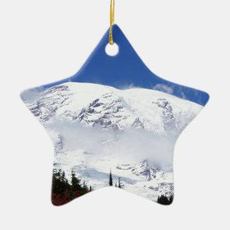 Mount Rainier 6 Double-Sided Star Ceramic Christmas Ornament