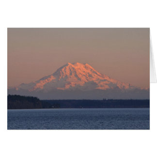 Mount Rainier and Nisqually Reach at Sunset Card
