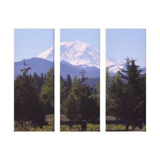 Mount Rainier and Pine Trees 3-Panel Canvas