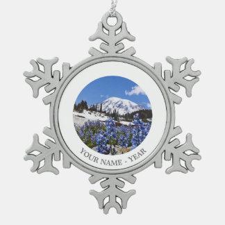 Mount Rainier at Paradise Point Snowflake Pewter Christmas Ornament