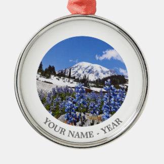 Mount Rainier at Paradise Point Round Metal Christmas Ornament