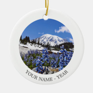 Mount Rainier at Paradise Point Double-Sided Ceramic Round Christmas Ornament