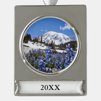 Mount Rainier at Paradise Point Silver Plated Banner Ornament