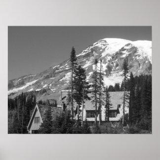 Mount Rainier Black and White Landscape Photo Poster