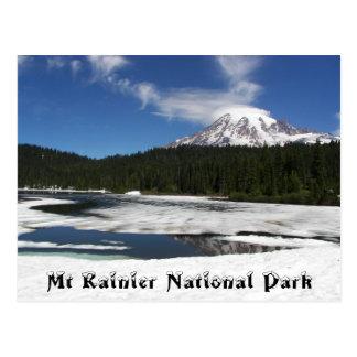 Mount Rainier Frozen Reflection Travel Postcard