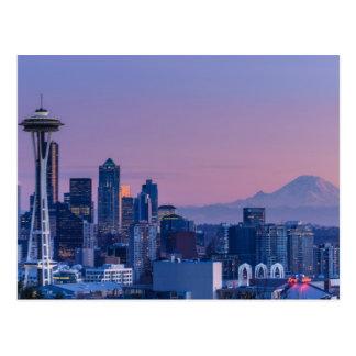 Mount Rainier in the background. Postcard