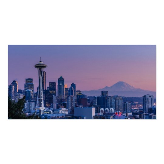 Mount Rainier in the background. Poster